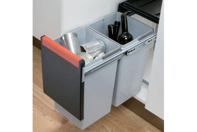 Cube 30 pull-out waste bin, 2x 15 litre bins