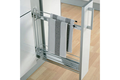 Pull-Out 2-Tier Basket and Towel Rail Silver or Chrome 150mm Cabinet