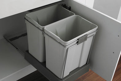 PWS 60 Litre Under Sink Grey Waste Bin