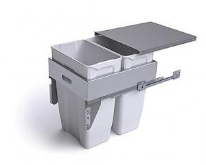 PWS Pull-out Grey Waste Bin Metal Lid. 2 x 35 litre