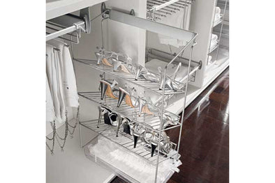 Wardrobe Pull-Out Shoe Rack 3-Tier Silv