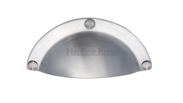 Heritage Brass Satin Chrome Cabinet Cup Pull Length 82mm