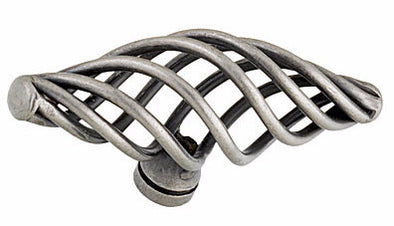 PWS Cabinet Handle Basketweave T-Shape 74mm Long Die-Cast Iron