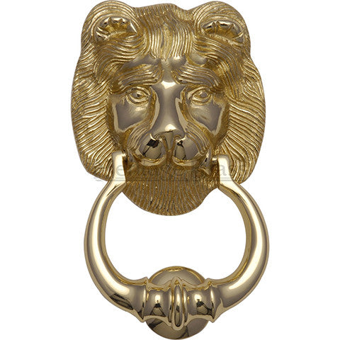 Heritage Brass Lion Knocker Polished Brass finish
