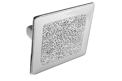 PWS Square Chrome Cabinet Knob Textured 32mm hole centres