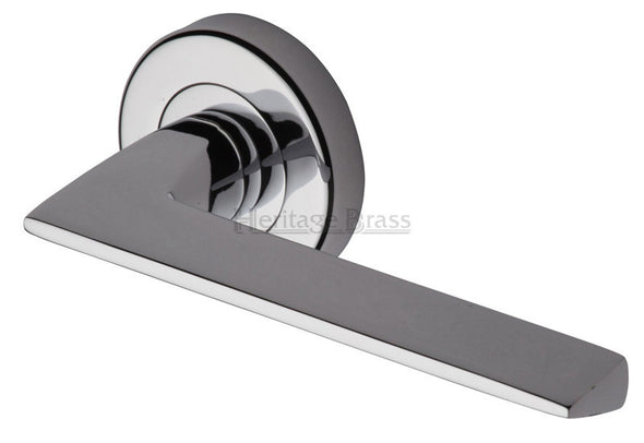 Heritage Brass Pyramid Lever on Rose Polished Chrome