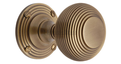 Heritage Brass Reeded Antique Brass Mortice Knob