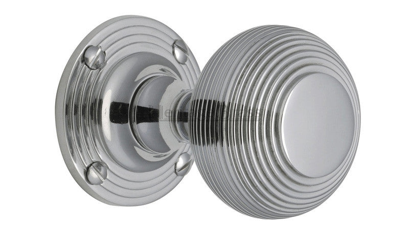 Heritage Brass Reeded Polished Chrome Mortice Knob – Kitchen Door ...