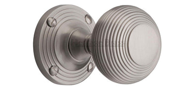 Heritage Brass Reeded Satin Nickel Mortice Knob