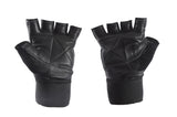 "Leather Weight Lifting Gym Gloves with 13"" Wrist Support Strap - First Physique"