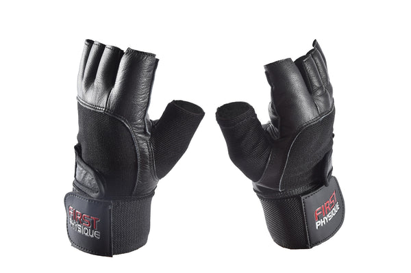 "Leather Weight Lifting Gloves with 13"" Wrist Support Strap"