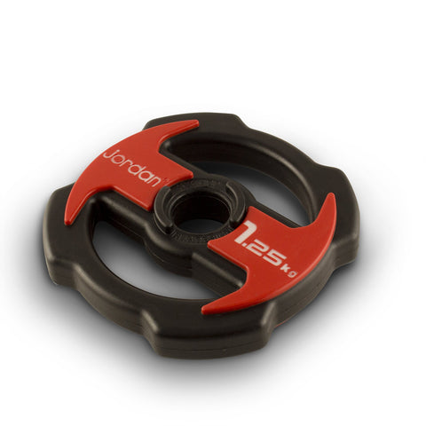 NEW Jordan Ignite V2 Urethane Studio Barbell Plates - PU Covered - Red/Black - First Physique
