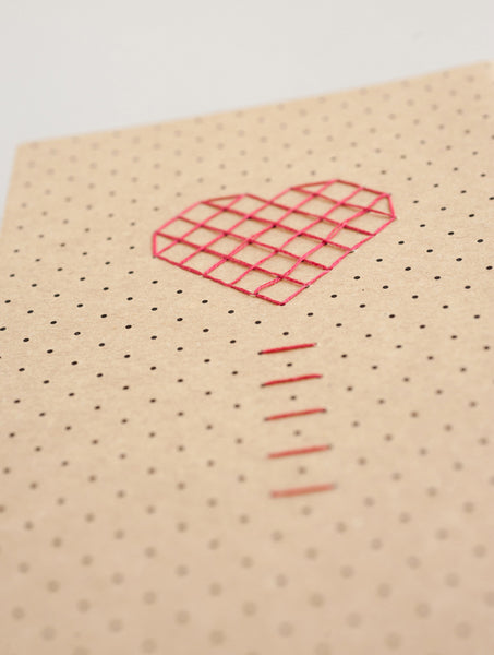 Unique notebook with red heart hand embroidery
