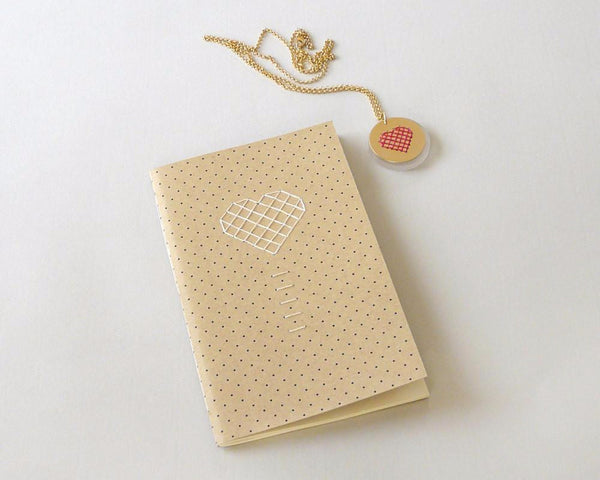 Heart embroidered notebook for valentines gift
