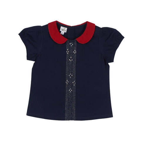 Peter Pan Blouse - Navy