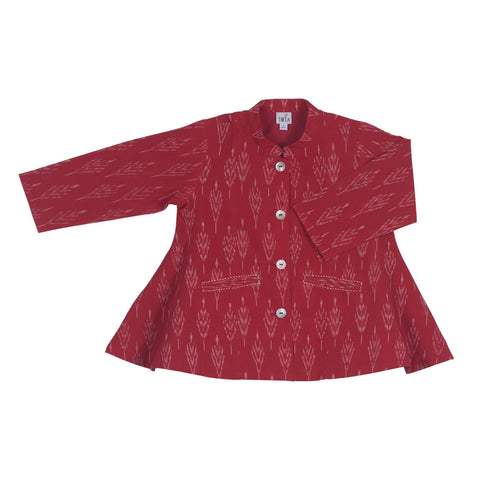 Chinese Collar Panelled Jacket in Red Ikat with Mother of Pearl Buttons