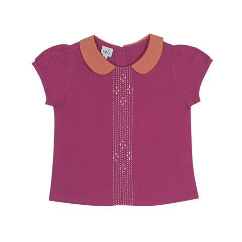 Peter Pan Embroidered Blouse in Magenta with Orange Collar