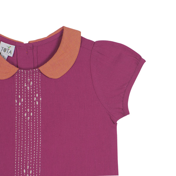 Peter Pan Embroidered Blouse in Magenta - Detail