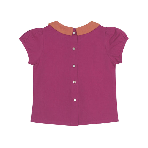 Peter Pan Embroidered Blouse in Magenta with Button-down Back