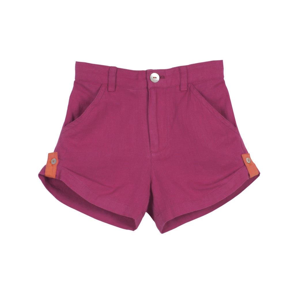 Magenta Unisex Roll-up Shorts with Zipper Front
