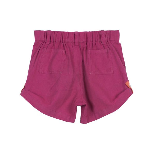 Magenta Unisex Roll-up Shorts with Elastic Back