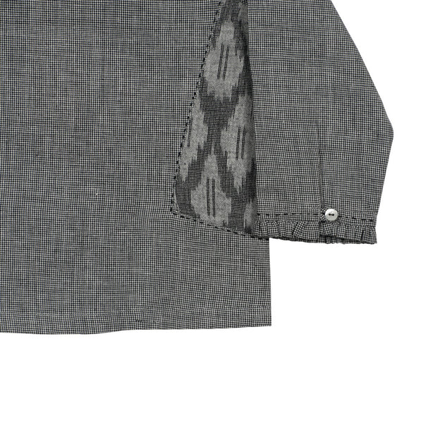 Houndstooth Ruffle Collar Blouse with Ikat Side Pockets with Embroidery Detail