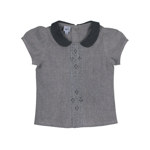 Ash Grey Peter Pan Collar Blouse with Embroidered Front