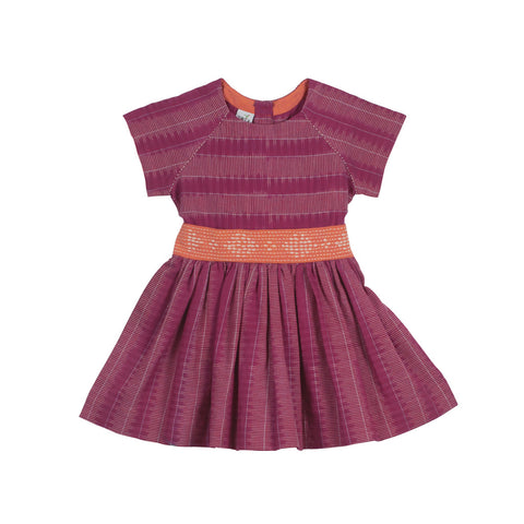 Raglan Short-sleeved Magenta Ladder Ikat Dress with Hand Embroidered Belt