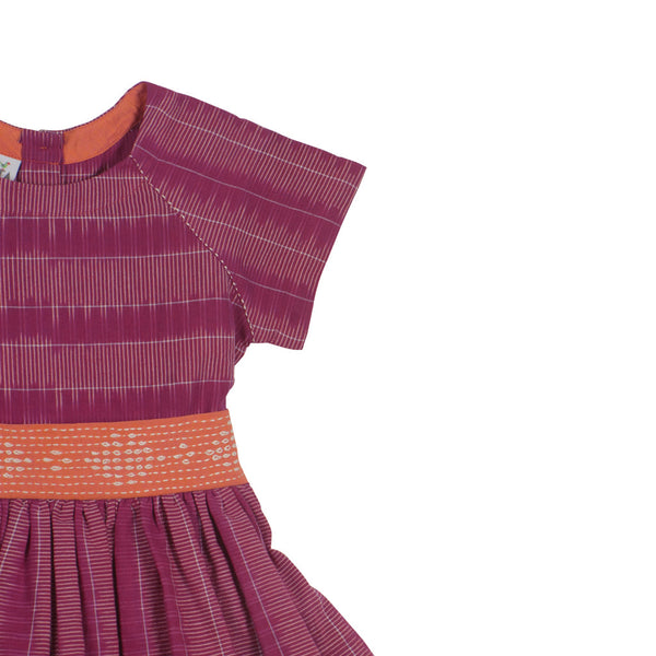 Raglan Short-sleeved Magenta Ladder Ikat Dress with Embroidered Belt - Detail