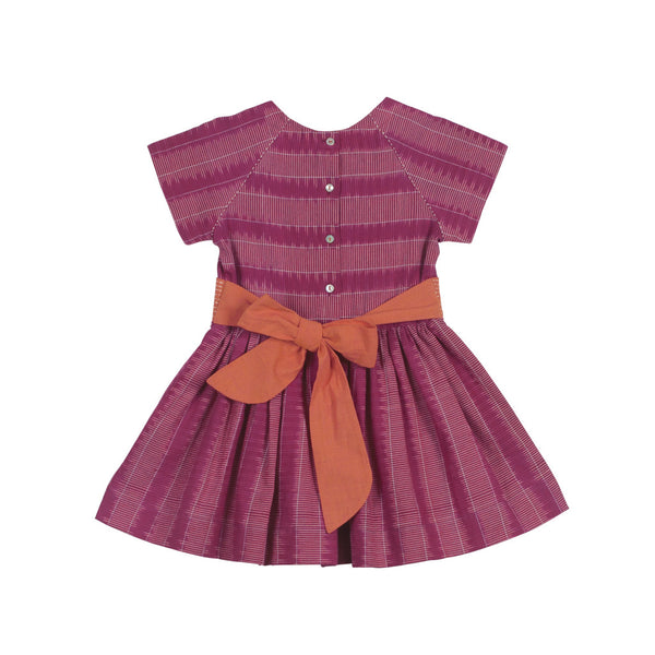 Raglan Short-sleeved Magenta Ladder Ikat Dress with Back Bow