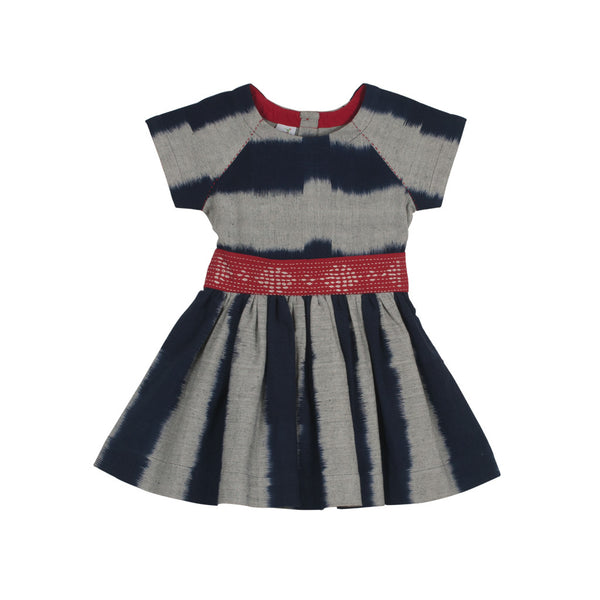 Raglan Short-sleeved Ladder Ikat Dress in Indigo & Grey Stripes with a hand embroidered belt