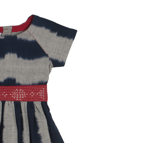 Ikat Raglan Dress - Indigo & Grey