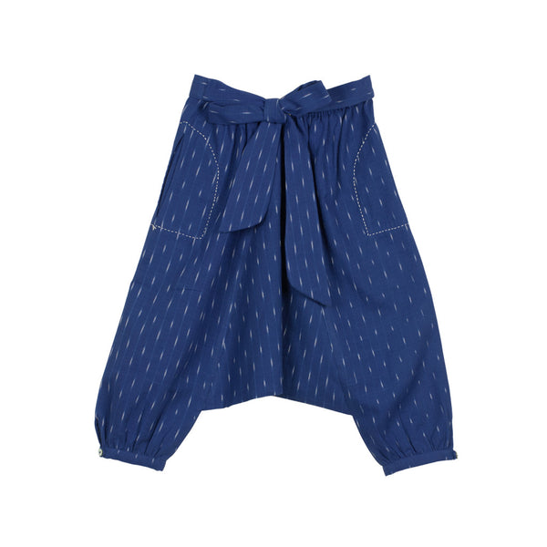 Cobalt Ikat Harem Pants with Bow at the Back