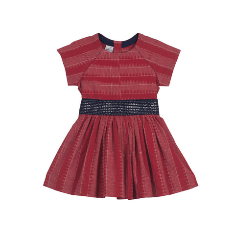 Raglan Short-sleeved Red Ladder Ikat Dress with Embroidered Belt