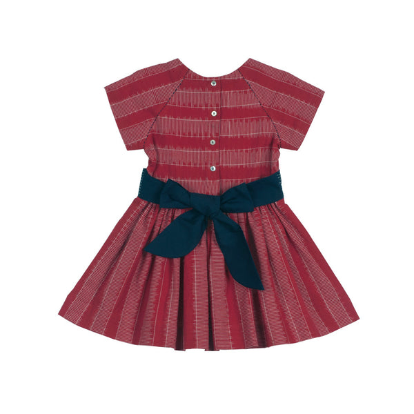 Raglan Short-sleeved Ladder Ikat Dress in Red with Bow in the Back