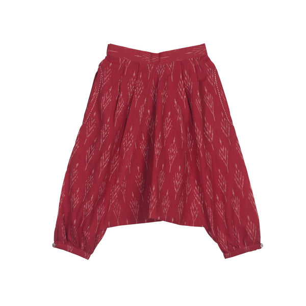 Red Ikat Harem Pants with Embroidered Pockets