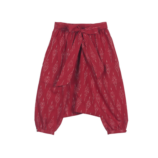 Red Ikat Harem Pants with Back Bow