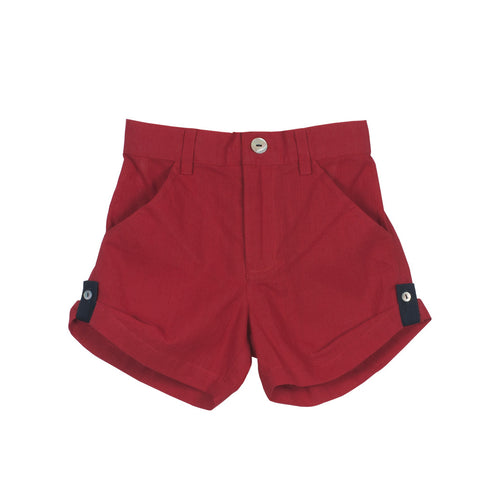 Red Unisex Roll-up Shorts with Navy loops