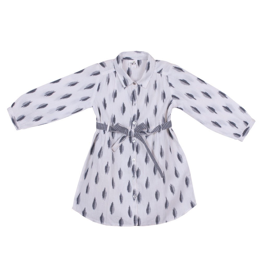 Belted White & Grey Ikat Shirt Dress with button-down front