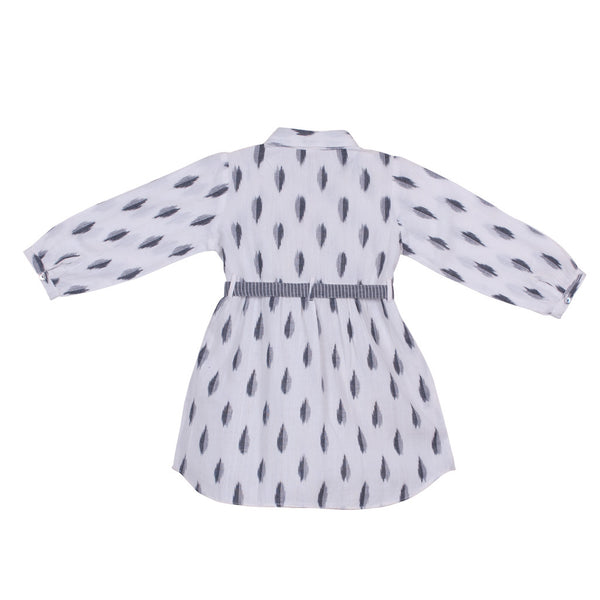 Belted White & Grey Ikat Shirt Dress