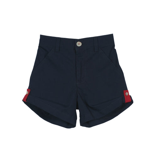 Navy Unisex Roll-up Shorts with Red loops