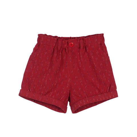 Red Ikat Pleated shorts