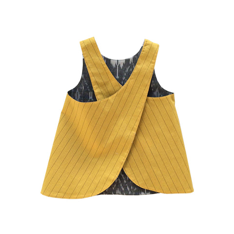Cross Back Reversible Top - Grey Ikat & Yellow