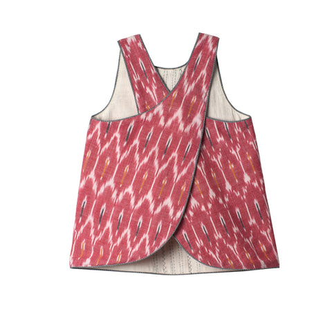 Cross Back Reversible Top - Carrot Ikat & Ivory