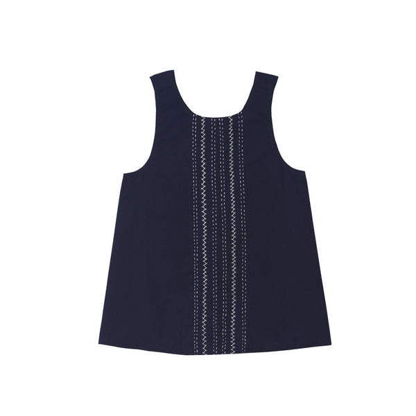 Reversible cross back top with Navy Embroidered Front