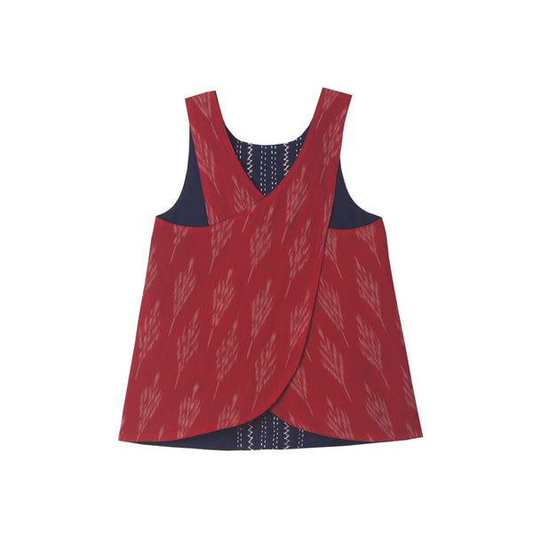 Reversible cross back top with Red Ikat