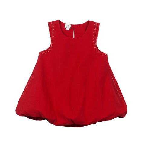 Balloon Pocket Dress - Red