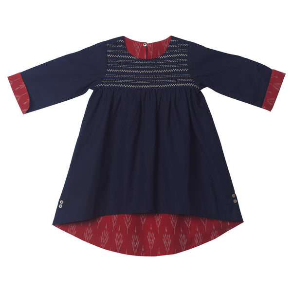 Reversible Hi-Lo Ikat Dress - Navy & Red