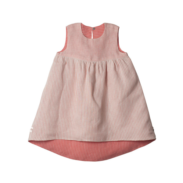 Reversible Linen Hi-Lo Dress in Peach & Ivory - Side 01