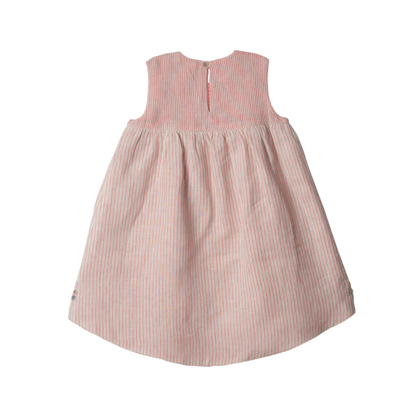 Reversible Linen Hi-Lo Dress in Peach & Ivory - back of side 01